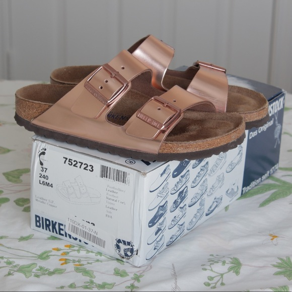7043e2c6ddd0 Birkenstock Shoes - Birkenstock Arizona Metallic Copper Flat Sandals
